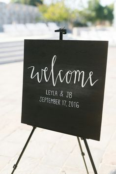 Rustic Wood Wedding Welcome Sign || Chris + Jenn Photos