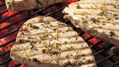 Lemon and Thyme Grilled Tuna is part of Lemon And Thyme Grilled Tuna Recipe Genius Kitchen - Enjoy a flaky and scrumptious dinner with grilled tuna that's marinated in lemon and thyme Albacore Tuna Recipes, Tuna Steak Recipes, Fish Recipes, Seafood Recipes, Grilled Tuna Steaks, Marinated Steak, Tuna Loin, Asparagus Fries, Gourmet