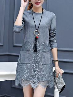 Round Neck Decorative Lace Patch Pocket Plain Polyester Shift Dress Get the latest womens fashion online With of new styles every day from dresses, onesies, heels, & coats, # Shift Dresses, Women's Dresses, Tight Dresses, Dresses Online, Casual Dresses, Fashion Dresses, Cheap Dresses, Fashion Blouses, Wedding Dresses