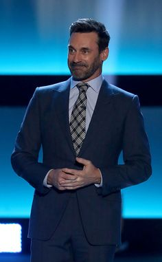 Jon Hamm from The Big Picture  Hockey meets Hollywood! The actor is seen onstage unveiling the 100 greatest NHL players in Los Angeles.