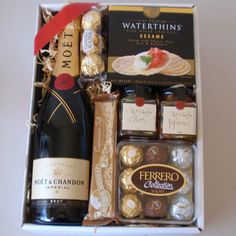 Crackers, chocolates, champagne - looks like a lovely night in, now where is the cheese?