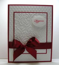 embossing white on white with red contrast