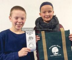 Tucker Kennedy, 11, and Bella Rossborough, 10, both students at Sea Road Elementary School in Kennebunk, are leading a drive to discourage the use of plastic shopping bags in town through an ordinance that, if it makes the June ballot and is adopted, would assess a 5-cent fee, per bag (Duke Harrington photo)