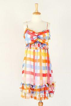 Spaghetti Strap Rainbow Check Tiered Ruffle Sweetheart Silk Dress  $55.00 $39.00