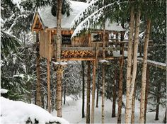 The Ecotagnes, an impressive 100% eco-friendly treehouse-style cabin elevated 9 feet above the ground and surrounded by nothing but nature, is located in Haute-Savoie, a region of eastern France that borders both Italy and Switzerland and in the Alps. The lodge is a brainchild of a father and son team, Patrick and Hugo Genand, who serve as hosts at the destination.
