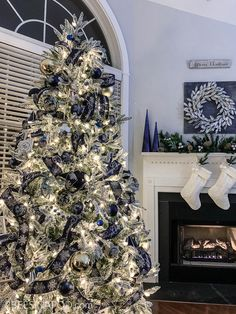 Blue and Silver Christmas Tree for the Living Room - 2 Bees in a Pod Blue Christmas Tree Decorations, Flocked Christmas Trees Decorated, Frosted Christmas Tree, Elegant Christmas Decor, White Christmas Trees, Beautiful Christmas, Christmas Mantles, Vintage Christmas, Victorian Christmas