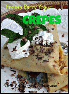 Light & Decadent Dessert - Frozen Berry Yogurt Crepes #crepes #dessert #frozenyogurt