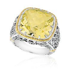 Reeds Jewelers - Roberta Z Two-Tone Lemon Quartz and Marcasite Ring $149.95