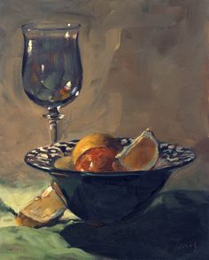 Blue wine glass. Oils glazing study. Panel.