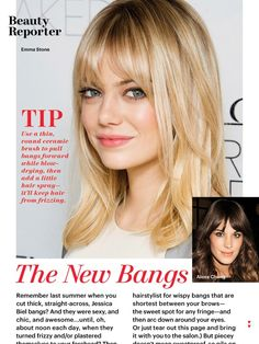 Love, love, love her shoulder length cut, face framing bangs and gorgeous blonde hair color! This is the perfect cut for the coming warm months!