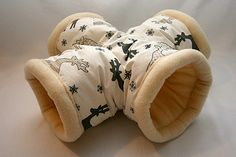Fleece X-shaped tunnel for guinea pigs (in moose grey/champagne)