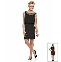 Cachet® Necklace-Trimmed Exposed-Back Dress