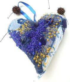 Marked down 50%, Blue heart, large fiber art ornament in blue, fabric collage…