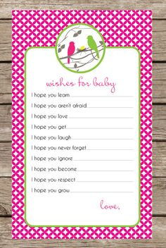 Bird Baby Shower Game  Wishes for baby boy or girl by TwoTinyLoves, $10.00