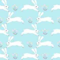 rabbits // bunny nursery baby pastel blue cute white rabbits easter rabbit pastels fabric fabric by andrea_lauren on Spoonflower - custom fabric
