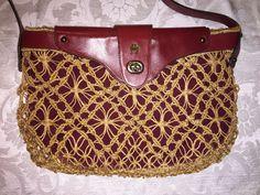 ef887d0c66 ETIENNE AIGNER VINTAGE Handmade Oxblood Leather  Marame Straw Shoulder Bag  13.5 x 9 x 2