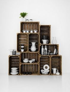 Crate Shelves - can imagine them fitting right in with the exposed brick walls and exposed beam ceiling