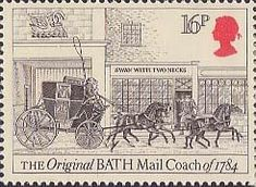 Royal Mail Postage Stamp from 1984 of The Original Bath Mail Coach of 1784 Vintage Travel Posters, Vintage World Maps, Uk Stamps, Postage Stamp Art, Royal Mail, Penny Black, England, Stamp Collecting, Mail Art