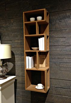 This modern shelf at #Macy's caught our eye in the Furniture Department, and we think it makes an excellent accent to their bedding display. We also took notice of their #hardwood wall panels: Nice touch! #interiordesign