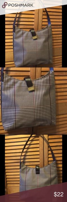 """Ralph Lauren Purse Black, maroon, beige houndstooth with brown handle and closure strap, goldtone hardware with Lauren engraved on the closure strap cloth lining with RLL throughout with a zippered inside pocket. 12"""" wide x 12 1/2"""" tall x 3"""" wide bottom. Ralph Lauren Bags Shoulder Bags"""