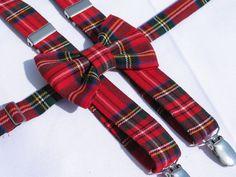 Royal Stewart Tartan Suspenders Bowtie Holiday by dolldressedup