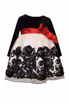 65910c65c52 Bonnie Jean Black Velvet Dress Floral Applique Dress, Toddler Girl Dresses,  Baby & Toddler