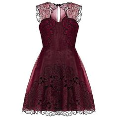 Karen Millen Baroque Cutwork Tutu Dress (£235) ❤ liked on Polyvore featuring dresses, vestidos, short dresses, red, purple dress, red sweetheart dress, cocktail prom dress e purple mini dress