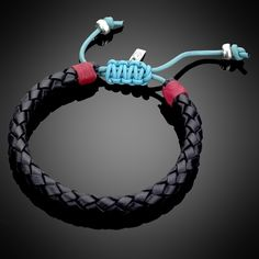Red, Turquoise, & Black Woven Leather Bracelet