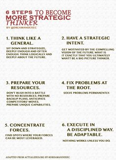 Business = strategy. Become amazing strategic thinker with our infographic.