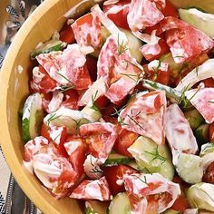 My go-to version of the classic Creamy Ukrainian Cucumber & Tomato Salad. Get the recipe to one of my sons favorite salads @ alyonascooking.com