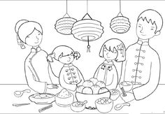 Food Party On Chinese New Year Day Coloring Pages - Holidays