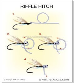 How to tie a Riffle Hitch expertly animated, illustrated and described Fly Fishing Knots, Walleye Fishing, Carp Fishing, Ice Fishing, Fishing Tackle, Fishing Tips, Fishing Quotes, Fly Tying, Fish Hook