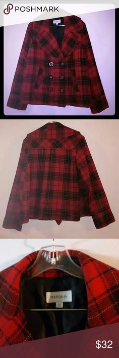 """Merona XXL Red black Plaid Jacket Rockabilly Retro This is a gorgeous jacket that is in perfect condition. Bust 46""""-48"""" Sleeves 25"""" long Merona Jackets & Coats Pea Coats"""