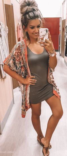 gray scoop-neck mini dress #summer #outfits