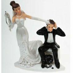 Bride Holding Key Ball Chain Cake Topper