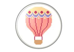 Hot-air balloon - PDF  cross stitch pattern - Instant downlaod