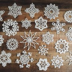 My growing collection of tatted snowflakes.