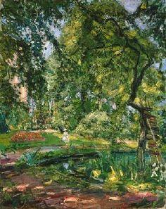 Max Slevogt - Garten in Godramstein mit verwachsenem Baum.