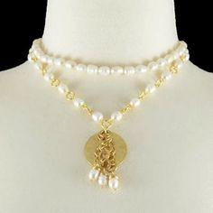 Collar Perla Moneda Oro
