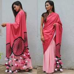 PaarthiviOnlineHub presents fusion 😍😍 Khadi love. Designer Saree BP Available Quality Assured *With Ready Blouse Extra 700 Extra Customisable 150 Chargeble* For booking WhatsApp at Pre Booking Party Wear Indian Dresses, Indian Gowns Dresses, Indian Fashion Dresses, Indian Designer Outfits, Latest Designer Sarees, Trendy Sarees, Stylish Sarees, Fancy Sarees, Stylish Dresses