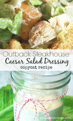 Craving the Outback Steakhouse caesar dressing? This caesar salad dressing recipe is the clone! Get your Outback Steakhouse recipes & cravings out of the way with this great copycat version and save yourself some big bucks! This is a perfect one Outback Steakhouse Recipes, Outback Recipes, Copycat Recipes, Salad Dressing Recipes, Salad Dressings, Salad Recipes, Avocado Recipes, Caesars Salad, Restaurant Recipes