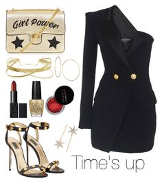 """""""Time's up"""" by razanrozzy ❤ liked on Polyvore featuring GUESS, Concrete Minerals, OPI and Jennifer Behr"""