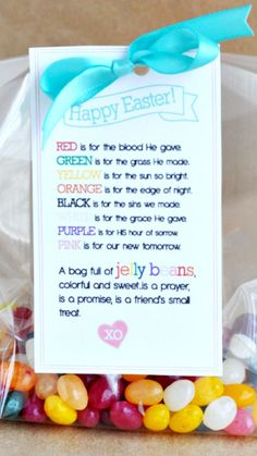 Easter Treat ~ Jelly Bean Poem Printable