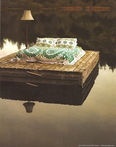 Dreamy Floating Dock! inspiration. something out of the ordinary. again natural. combination of nature and people