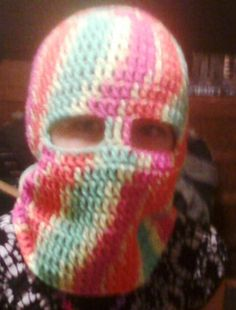 angelzgrammy: Free Fruit Ninja (Ski) Mask Crochet Pattern - child size but can be made bigger with larger hook.Use this got sugar skull Crochet Mask, Crochet Beanie, Knit Crochet, Free Crochet, Blanket Crochet, Easy Crochet, Crochet Kids Hats, Crochet Crafts, Crochet Projects