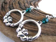 Silver Celtic Claddagh Irish Emerald Green Crystal Long Dangly Hoop Earrings for St. Patrick's Day - pinned by pin4etsy.com