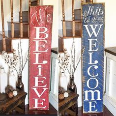 {Double-Sided Barnwood Porch Sign} last name welcome on one side & we believe on the flip side Who needs one of these for their front porch?! We will have more designs like this in our next restock April 17th. Get those post notifications turned on to see everything we'll have in upcoming giveaways restocks & pop up sales! to do so just hit the dots in the upper right hand corner of our profile . . #welcome #frontporch #porchdecor #frontporchsign #welcomesign #christmas #established #believe…