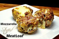 Mozzarella Stuffed Meatloaf Minis recipe - CentsLess Deals wout the breadcrumbs