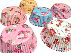 FLORAL Cupcake Liners 60 Prettiest Rose Cherry by TaDaPartyShop