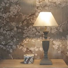 Olive Wash with delicate Gold Detail Classical Wooden Lamp with Shade